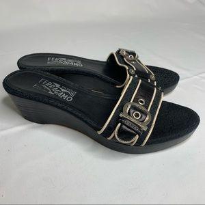 Salvatore Ferragamo Black Fabric Leather Sandals